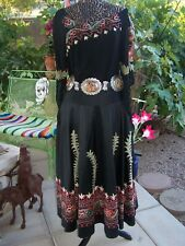 $400~RARE Beauty Western Silk Suzani Embroidered Long Skirt~M~Vintage Collection