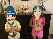 Unique Vintage Mask on a Stick 1920's Women and Policeman Halloween