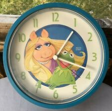 Vintage Miss Piggy & Kermit the Frog Wall Clock Henson Assoc.1980 Picco Quartz