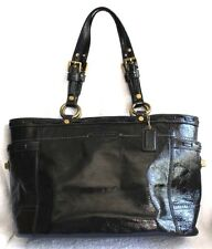 Coach Black Textured Patent Leather w/Weave Detail Tote Handbag 60773-11500