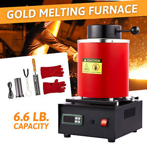 3KG Digital Metal Melting Furnace Jewelry Smelter Kiln Refining Gold Silver