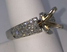 14K White Gold and Diamond Semi Mount Mounting Engagement and Wedding Ring