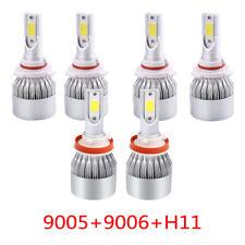 6x Combo 9005+H11+9006 3900W 585000LM LED Headlight Kit CREE Hi Low Bulbs 6000K
