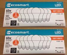(16 Pack) 60 Watt = 9W A19 LED Soft White Light Bulbs ~ Ins + Track # Included