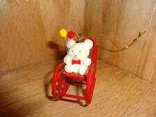 Vintage Taiwan Red Metal Rocking Chair Flocked Teddy Bear Holiday Christmas Tree