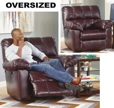 OVERSIZED Burgundy Leather Rocker Recliner Armchair LARGE Arm Chair Recliners