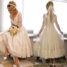 Vintage Lace 2018 1950s V Neck Wedding Dress Tea Length Custom Made