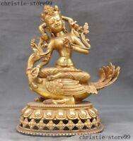 Tibet Buddhism Bronze Gilt 4 Arms Chenrezig Tara Guanyin KuanYin Buddha Statue