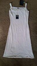 Postcard White Cotton Knit below knee length dress szL BNWT free post E26