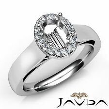 Oval Diamond Engagement Halo U Cut Prong Semi Mount Ring 14k White Gold 0.2Ct