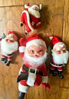 Vintage Felted Shelf Sitting Santa Christmas Ornaments Kitsch Set MCM MOD Picks