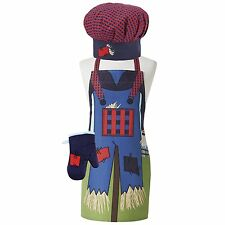 Scarecrow Kids Chef Set Blue by Ladelle 3 Piece Chef's Hat Apron Oven Mitt