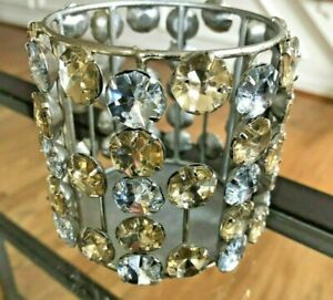 """Pottery Barn Silver & Gold Rhinestone Votive Candle Holder 3 1/2"""" Tall"""