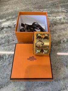 Hermes Orange Leather Collier De Chien Wide Cuff Bracelet Excellent Condition