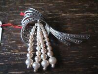 elegante große Art Deco Markasit Brosche mit abgehängten Perlen 925er Silber