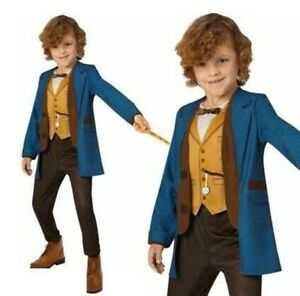 Kids Deluxe Newt Scamander Costume Wand Fantastic Beasts World Book Day 5-6 7-8Y
