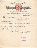 Vtg 1921 Mogul Wagons in Town Creek Alabama AL Letterhead Receipt Letter
