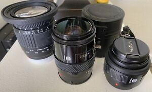 SONY, MINOLTA LOT OF 2 Maxxum 28-85 ZOOM, 50MM f 1.7 LENS AND SIGMA 28-200 Z00M