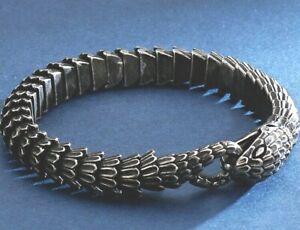 MENS GUNMETAL AZTEC SNAKE SILVER 316L SSTEEL LUXURY DESIGNER BRACELET 22.5CM UK
