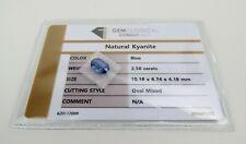 Natural Blue Kyanite GCI certified 2.56 carat oval faceted gem