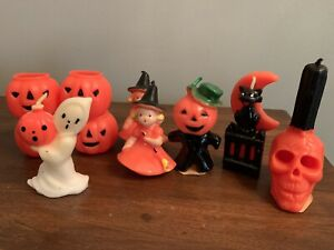 Lot of 10 Vintage Halloween Gurley Candles Witch Ghost Cat Skull Jack 'O Lantern