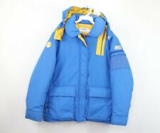 Vtg 70s Asics Mens Small Spell Out Full Zip Hooded Down Puffer Jacket Made Japan