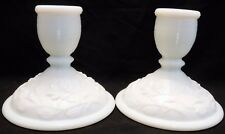 Vintage Imperial Milk Glass White Doeskin Satin Candle Holder Set of 2 Open Rose