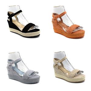 Damen Plateau Sandalen Sommer Espadrilles Freizeitschuhe Sandaletten Schuhe
