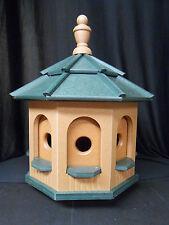 Medium Poly Amish Gazebo Birdhouse Post Mount Handcrafted Cedar & Green Roof