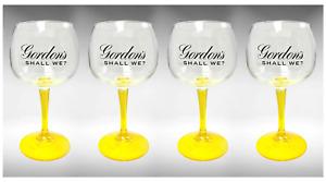 4 x  Gordon's Large Balloon Yellow Stem Gin Glass Bowl Goblet In Box New