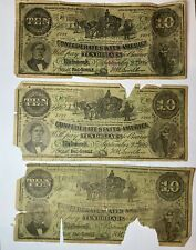 1864 Civil War Currency 3 - $10 Bills Confederate States*Reproduction*