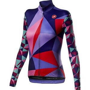 Castelli Triangolo Mid Women's Bicycle Cycle Bike Jersey FZ Multicolor Purple