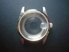 A VINTAGE STYLE UNBRANDED 34MM STEEL PRINCE SMOOTH BEZEL WATCH CASE FIT ETA 2824