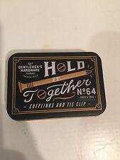 Gentlemens Hardware Designer Tie Bar Clip Cufflinks Set Brass Nut Bolt Nail