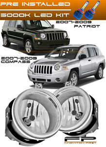 LED + 2007-2009 Jeep Compass / Patriot Clear Lens Replacement Fog Lights Housing