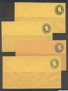 U.S. #U111//116a Mint Entires - 1c Blue / Dark Blue on Orange ($87)