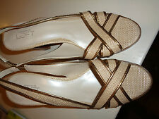 "Anne Taylor Loft Ecru Woven Cloth Open Toe 3.25"" Heeled Snadals Hardly Worn 7.5M"