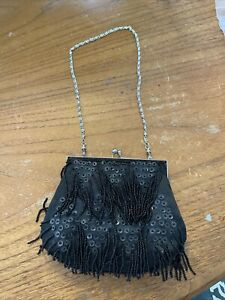 Womens Stylish Handbag Bag Black Sequin Clutch For Out Out Bag