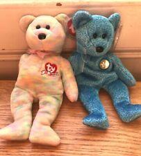 2 TY Beanie Babies Bears CELEBRATE (multi) & CLASSY (blue swirl) with tags VVGC
