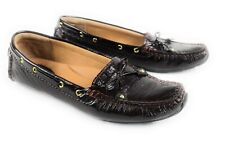 Clarks Burgundy Patent Leather Driving Loafers Bow Tie Moc Toe Women's 8.5