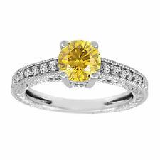 Enhanced Fancy Yellow Diamond Engagement Ring 14K White Gold 1.12 Carat Pave Set