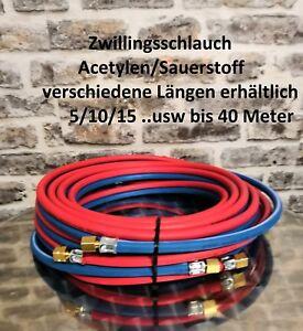 6x9 konfektioniert 15m Schlauchgarnitur Ace Sauerstoff Zwillingsschlauch A//S