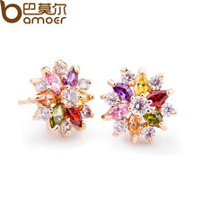 Jewelry Luxury Gold Plated Stud Earrings With Multi-Color AAA Zircon For Women