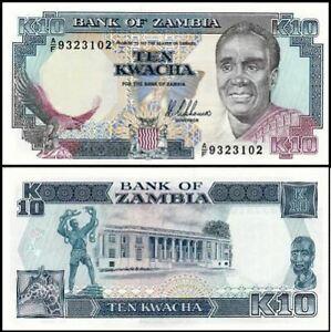 Zambia Banknote 10 Kwacha 1989-91 (UNC) 全新 赞比亚 10克瓦查 1989-91年版 A/F 0079125