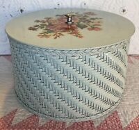 """Vintage Harvey Green Wicker Sewing Basket/Box Rose Decals 1940's 11"""" x 6.5"""" Tall"""