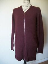 NO BOUNDARES  Women's BURGUNGY SWEATER CADIGAN FRONT ZIPER  LONG SLEEVES  SIZE M