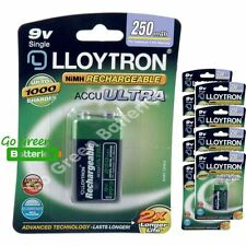10 x Lloytron 9V PP3 Rechargeable Battery 250 mAh 6LR61 HR22 LR22