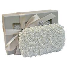 Pearl Beaded Bead Satin Crystal Clutch Bag Handbag Wedding Prom Gift Boxed 209