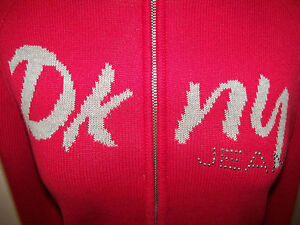 DONNA KARAN DKNY -sz XS RED CUTE SWEATER WITH DKNY LOGO ON CHEST -  - NWT