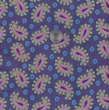 QUILT FABRIC: 100% COTTON, SPOTTED PAISLEY, PURPLE & PINK, SP-13, By The Yard